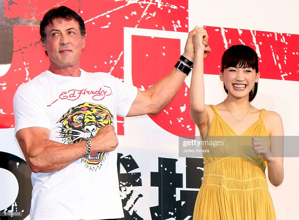 Actor Sylvester Stallone (L) and Japanese actress Haruka Ayase (R) attend the 'Rambo' Japan Premiere at Roppongi Hills on May 8, 2008 in Tokyo, Japan. The film will open on May 24 in Japan.