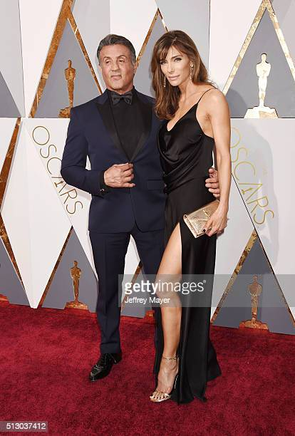 Actor Sylvester Stallone and Jennifer Flavin arrive at the 88th Annual Academy Awards at Hollywood Highland Center on February 28 2016 in Hollywood...