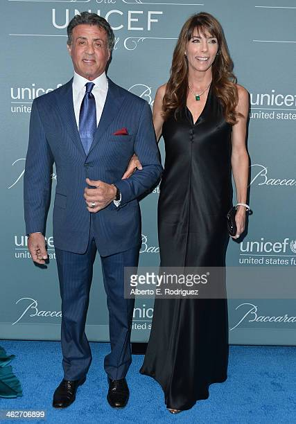 Actor Sylvester Stallone and Jennifer Flavin arrive to the 2014 UNICEF Ball Presented by Baccarat at the Regent Beverly Wilshire Hotel on January 14...