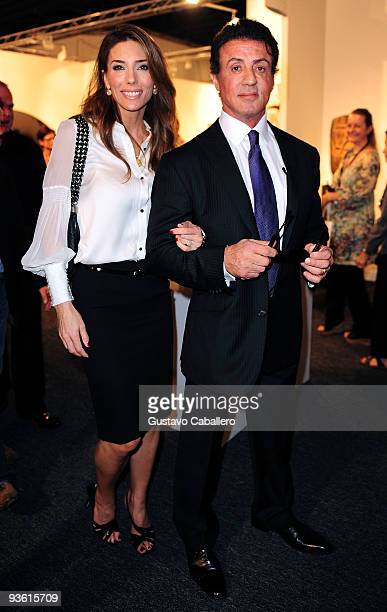 Actor Sylvester Stallone and Jennifer Flavin attend Art Basel on December 2 2009 in Miami Beach Florida