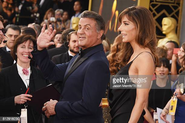 Actor Sylvester Stallone and Jennifer Flavin attend the 88th Annual Academy Awards at Hollywood Highland Center on February 28 2016 in Hollywood...