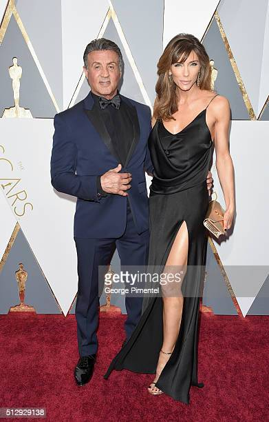 Actor Sylvester Stallone and model Jennifer Flavin attend the 88th Annual Academy Awards at Hollywood Highland Center on February 28 2016 in...