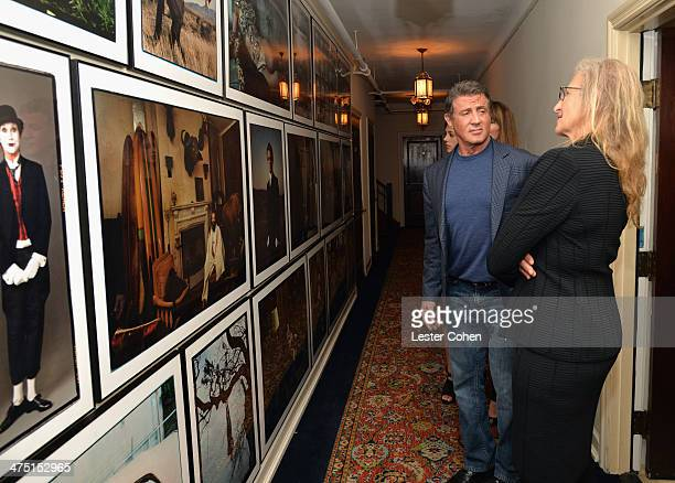 Actor Sylvester Stallone and photographer Annie Leibovitz attend The Annie Leibovitz SUMOSize Book Launch presented by Vanity Fair Leon Max and...