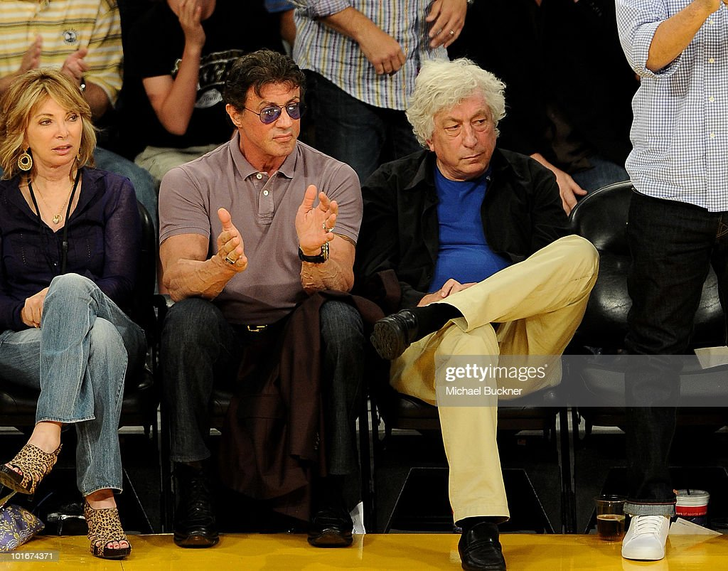 Actor Sylvester Stallone (L) and producer Avi Lerner attend Game 2 of the NBA Finals between the Los Angeles Lakers and Boston Celtics at the Staples Center on June 6, 2010 in Los Angeles, California.