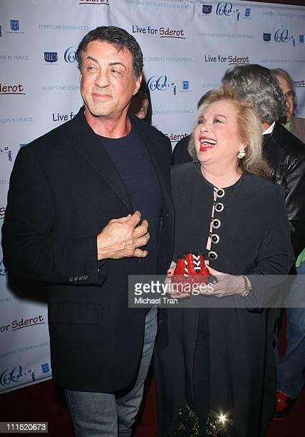 Actor Sylvester Stallone and singer Carol Connors arrive at the Live For Sderot a benefit concert for Israel's 60th Anniversary of Independence...
