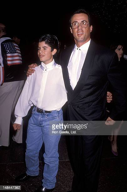 Actor Sylvester Stallone and son Sage attend the Rocky V West Hollywood Premiere on November 13 1990 at the DGA Theatre in West Hollywood California