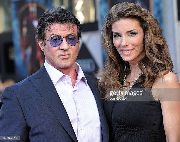 Actor Sylvester Stallone and wife Jennifer Flavin arrive at the Los Angeles Premiere 'Iron Man 2' at the El Capitan Theatre on April 26 2010 in...
