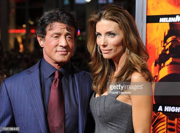 Actor Sylvester Stallone and wife Jennifer Flavin arrives at a special screening of Summit Entertainment's 'RED' at Grauman's Chinese Theatre on...