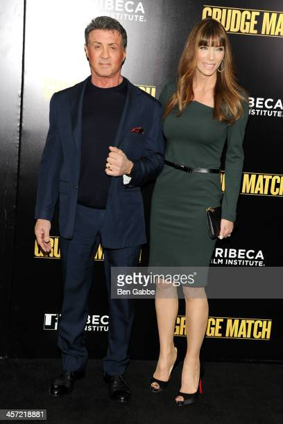Actor Sylvester Stallone and wife Jennifer Flavin attend the Grudge Match screening benefiting the Tribeca Film Insititute at Ziegfeld Theater on...