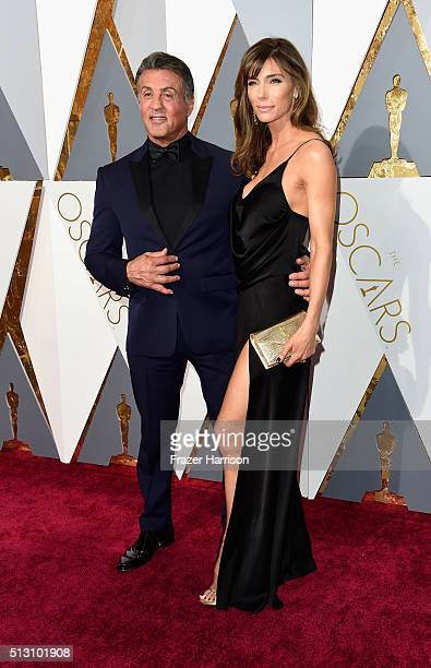 Actor Sylvester Stallone and wife Jennifer Flavin attends the 88th Annual Academy Awards at Hollywood Highland Center on February 28 2016 in...
