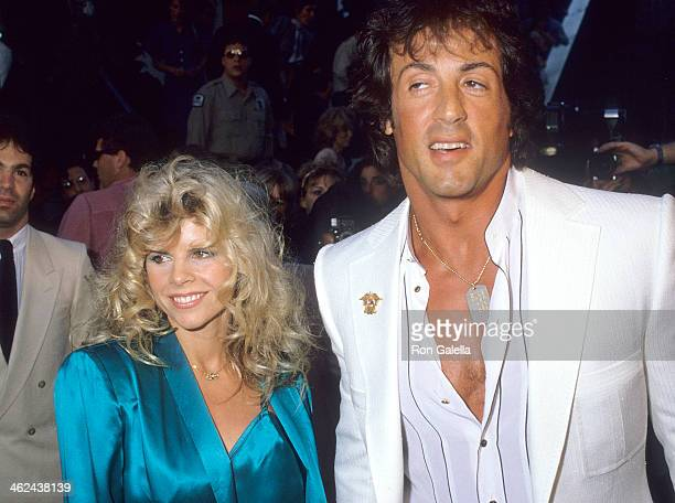 Actor Sylvester Stallone and wife Sasha Czack attend the Ghostbusters Westwood Premiere on June 7 1984 at Avco Center Cinemas in Westwood California