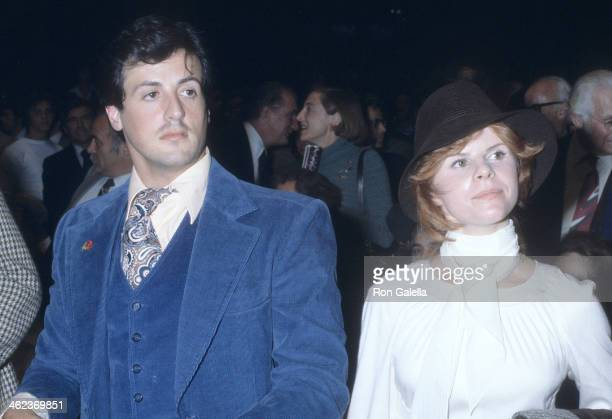 Actor Sylvester Stallone and wife Sasha Czack attend the Muhammad Ali vs Earnie Shavers Boxing Match WBC Heavyweight Title and WBA Heavyweight Title...
