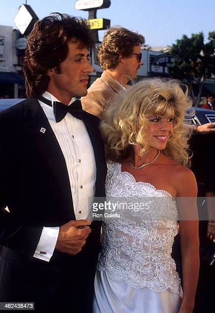 Actor Sylvester Stallone and wife Sasha Czack attend the Rhinestone West Los Angeles Premiere on June 10 1984 at the Pickwood Theatre in West Los...