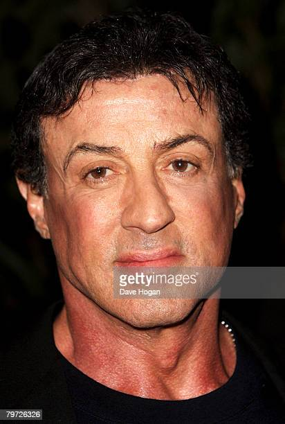 Actor Sylvester Stallone arrives at the UK gala premiere of 'Rambo' at the Vue cinema Leicester Square on February 12 2008 in London England