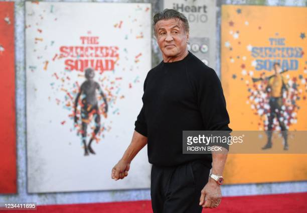 """Actor Sylvester Stallone arrives for the premiere of """"The Suicide Squad"""" at the Regency Village theatre in Westwood, California on August 2, 2021."""