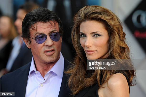 Actor Sylvester Stallone arrives with his wife Jennifer Flavin for the world premiere of Iron Man 2 at the El Capitan Theater n the Hollywood section...