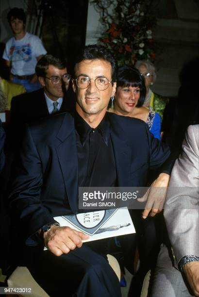 Actor Sylvester Stallone At Haute Couture Fall Winter 1990 1991 Versace Show July 1990