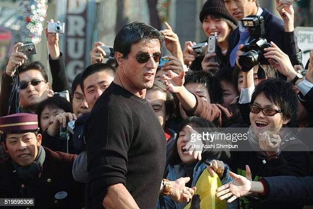Actor Sylvester Stallone attends a Christmas event at the Universal Studios Japan on December 3 2002 in Osaka Japan