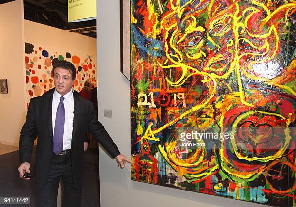 Actor Sylvester Stallone attends at Art Basel where Sylvester Stallone exhibited his painting on December 2 2009 in Miami Beach Florida
