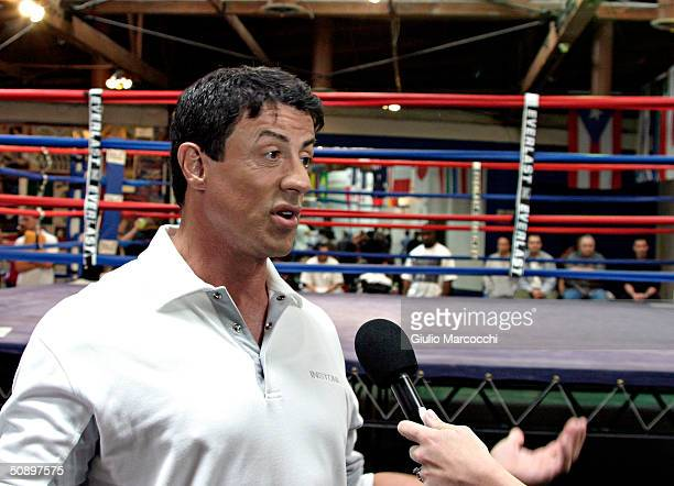 Actor Sylvester Stallone attends the casting call for the unscripted drama 'The Contender' at La Brea Boxing on May 25 2004 in Los Angeles California