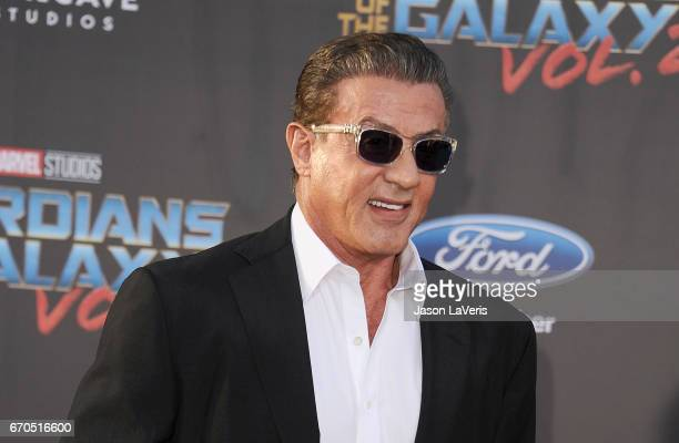 Actor Sylvester Stallone attends the premiere of 'Guardians of the Galaxy Vol 2' at Dolby Theatre on April 19 2017 in Hollywood California