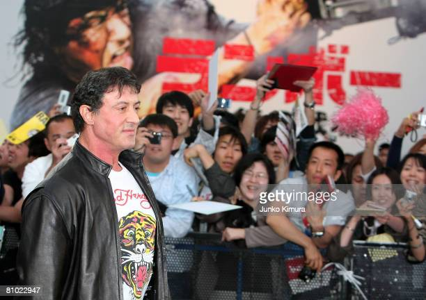 Actor Sylvester Stallone attends the Rambo Japan Premiere at Roppongi Hills on May 8 2008 in Tokyo Japan The film will open on May 24 in Japan