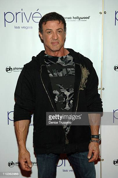 Actor Sylvester Stallone attends the World Premiere of 'Rambo' after party at prive at The Planet Hollywood Resort Casino on January 24 2008 in Las...
