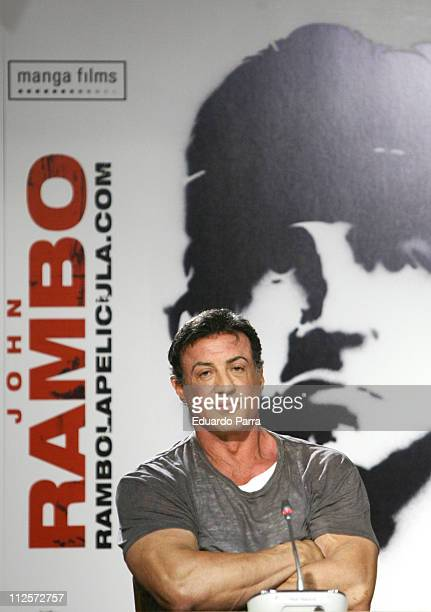 Actor Sylvester Stallone during the press conference and photocall for the film 'John Rambo' at Santiago Bernabeu on January 28 2008 in Madrid Spain