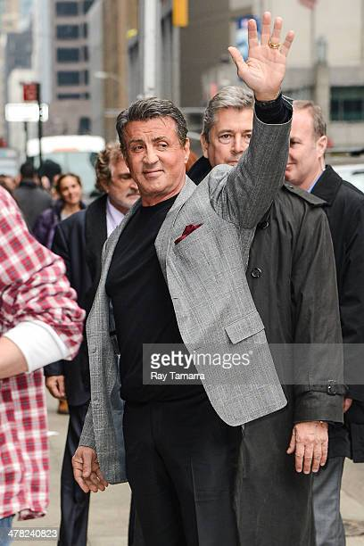 Actor Sylvester Stallone enters the 'Late Show With David Letterman' taping at the Ed Sullivan Theater on March 12 2014 in New York City