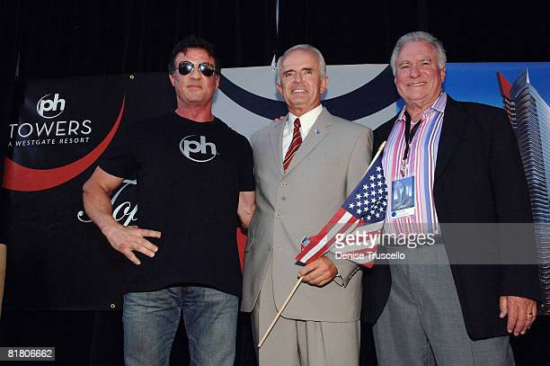 Actor Sylvester Stallone Govenor Jim Gibbons and President and CEO of Westgate David A Siegel attend Planet Hollywood Towers by Westgate topping off...
