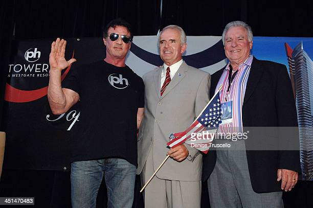 Actor Sylvester Stallone Governor Jim Gibbons and President and CEO of Westgate David A Siegel attend Planet Hollywood Towers by Westgate topping off...