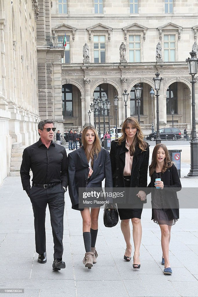 Actor Sylvester Stallone, his wife Jennifer Flavin, his daughters Scarlet Rose and Sisitine Rose are sighted in the 'Louvre' gardens on November 22, 2012 in Paris, France.