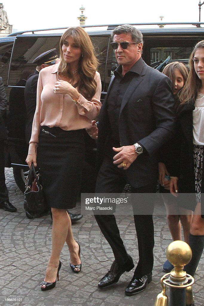 Actor Sylvester Stallone, his wife Jennifer Flavin, his daughters Scarlet Rose and Sisitine Rose are sighted at the 'Hotel de Crillon' on November 22, 2012 in Paris, France.