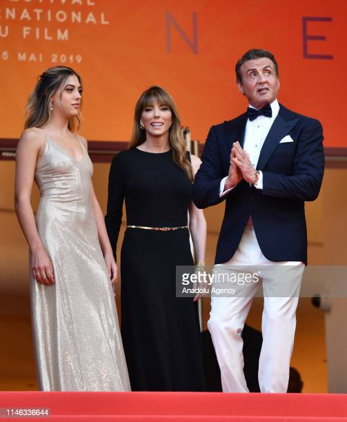 US actor Sylvester Stallone his wife US model Jennifer Flavin and his daughter US actress Sistine Rose Stallone arrive for the Closing Awards...