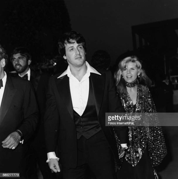 Actor Sylvester Stallone holding hands with his wife Sasha Czack at the 49th Academy Awards Los Angeles March 28th 1977