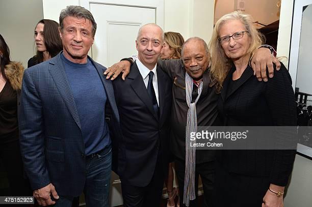 Actor Sylvester Stallone host Benedikt Taschen producer Quincy Jones and photographer Annie Leibovitz attend The Annie Leibovitz SUMOSize Book Launch...