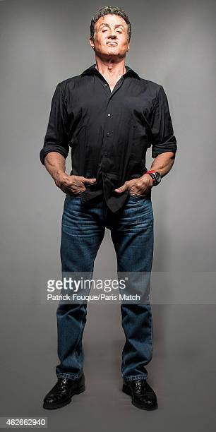 Actor Sylvester Stallone is photographed for Paris Match on August 7 2014 in Paris France