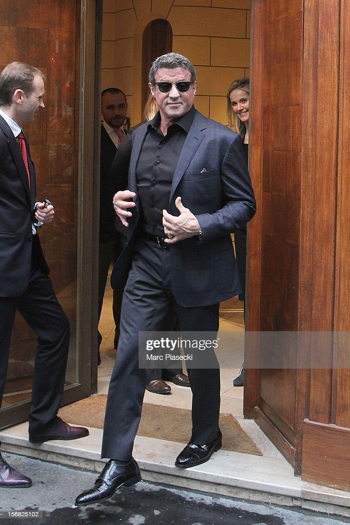 Actor Sylvester Stallone Is sighted leaving the 'Berlutti' store on November 22, 2012 in Paris, France.