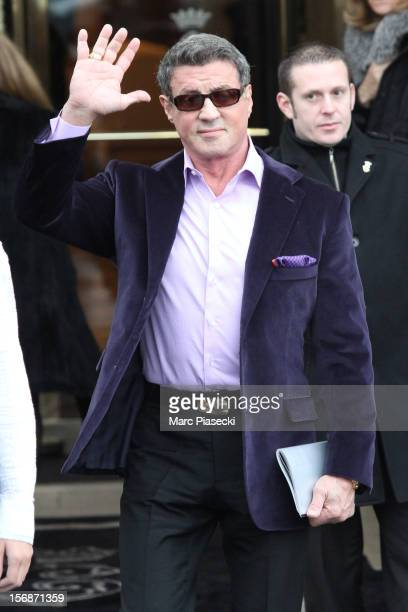Actor Sylvester Stallone is sighted leaving the 'Hotel de Crillon' on November 23 2012 in Paris France