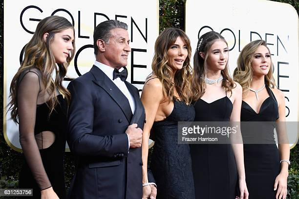 Actor Sylvester Stallone model Jennifer Flavin and 2017 Miss Golden Globe Sistine Stallon Scarlet Stallone and Sophia Stallone attend the 74th Annual...
