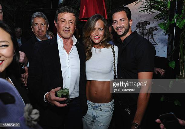 Actor Sylvester Stallone model Natalia Borges and owner of Provocateur Michael Satsky attend DuJour Magazine's Jason Binn celebrating Sly Stallone's...
