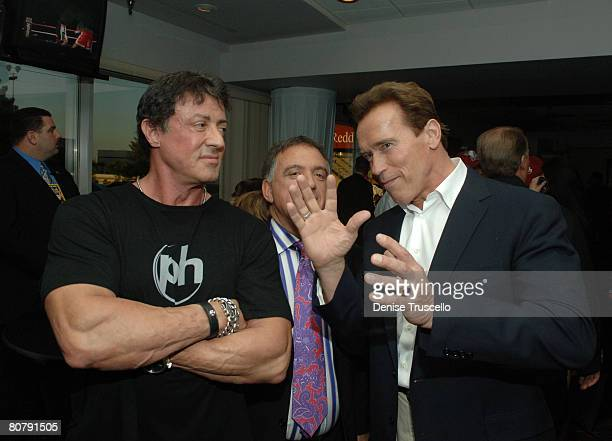 Actor Sylvester Stallone Planet Hollywood owner Robert Earl and California Governor Arnold Schwarzenegger attend the Hopkins vs Calzaghe 'Battle of...