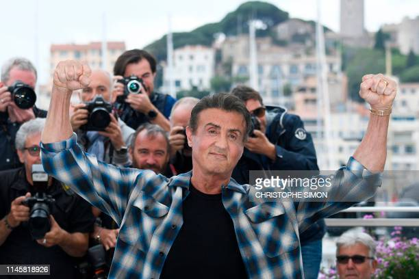 TOPSHOT US actor Sylvester Stallone poses during a photocall for Rendezvous with Sylvester Stallone and Rambo V Last Blood at the 72nd edition of the...