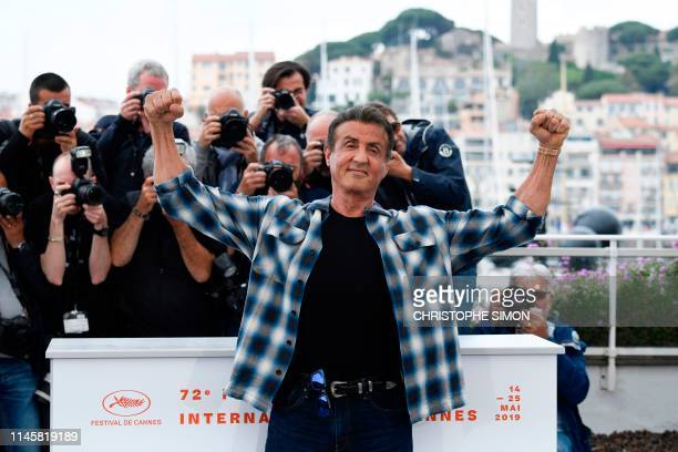 US actor Sylvester Stallone poses during a photocall for Rendezvous with Sylvester Stallone and Rambo V Last Blood at the 72nd edition of the Cannes...
