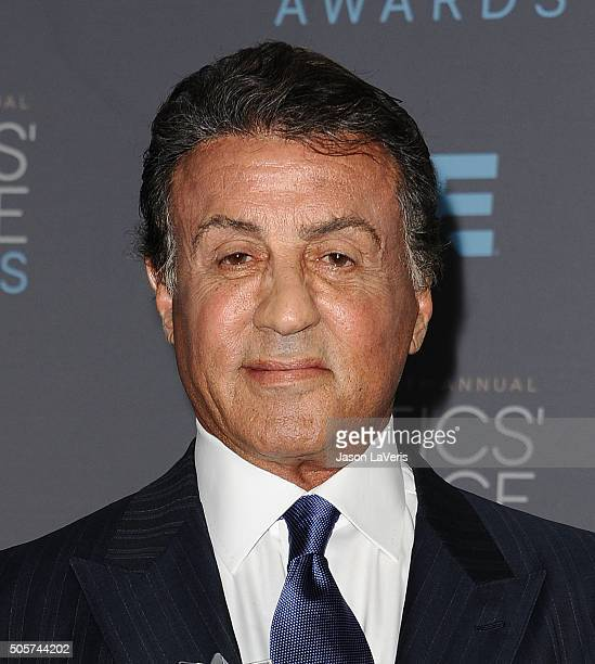 Actor Sylvester Stallone poses in the press room at the 21st annual Critics' Choice Awards at Barker Hangar on January 17 2016 in Santa Monica...