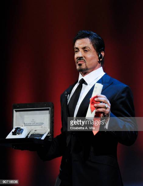 Actor Sylvester Stallone poses with his Lifetime Achievement award as he attends the Closing Ceremony at The Sala Grande during the 66th Venice Film...