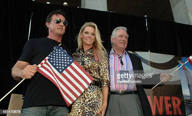 Actor Sylvester Stallone President and CEO of Westgate Resorts David A Siegel and Mrs Siegel attend Planet Hollywood Towers by Westgate topping off...
