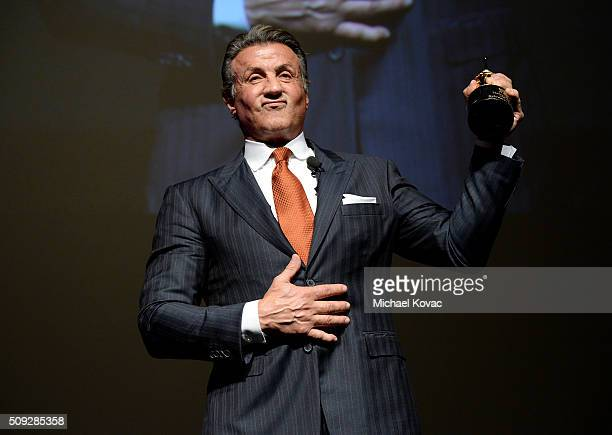 Actor Sylvester Stallone receives the Montecito Award onstage at The Santa Barbara International Film Festival on February 9 2016 in Santa Barbara...