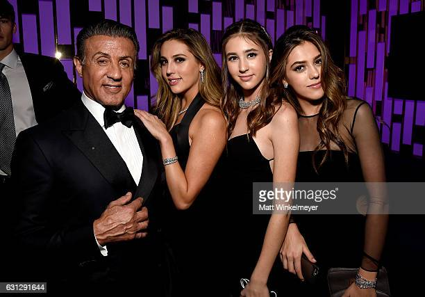 Actor Sylvester Stallone Scarlet Rose Stallone Sophia Rose Stallone and Sistine Rose Stallone attend The 2017 InStyle and Warner Bros 73rd Annual...