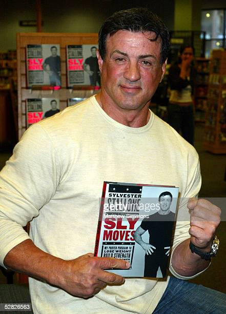 """Actor Sylvester Stallone signs copies of his new book """"Sly Moves: My Proven Program to Lose Weight, Build Strength, Gain Will Power, and Live your..."""